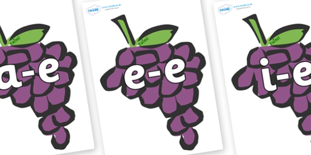 Modifying E Letters on Grapes - Modifying E, letters, modify, Phase 5, Phase five, alternative spellings for phonemes, DfES letters and Sounds
