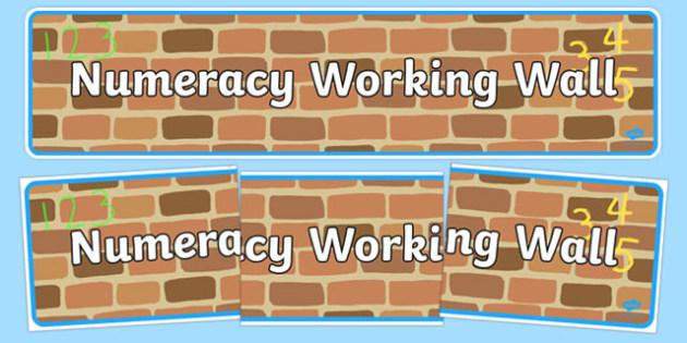 Numeracy Working Wall Display Banner EYFS - numeracy, eyfs, maths