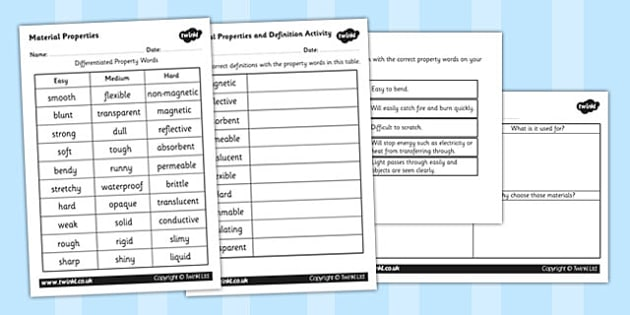 Material Properties and Definition Activity - materials, materials and their properties, material properties activity, materials worksheet, ks2 science