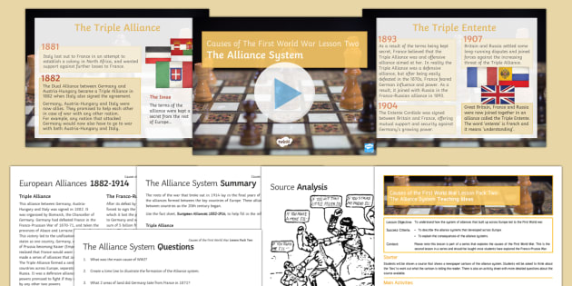 Causes of the First World War Lesson 2: The Alliance System Resource Pack  - Causes of the First World War,The Alliance System, Entente Cordial, Triple Alliance, Dual Alliance,