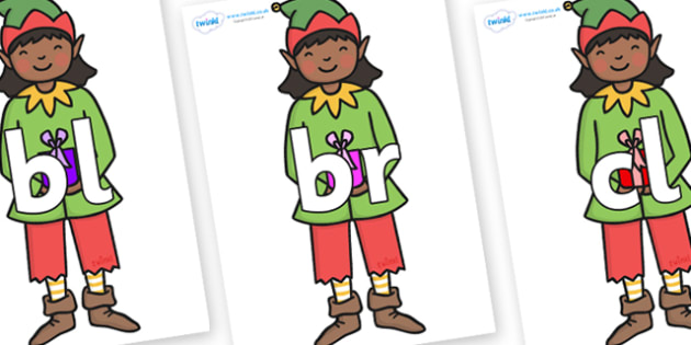 Initial Letter Blends on Green Elf (Girl) - Initial Letters, initial letter, letter blend, letter blends, consonant, consonants, digraph, trigraph, literacy, alphabet, letters, foundation stage literacy