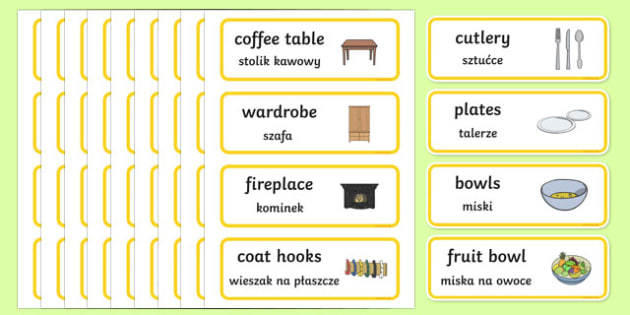 Home Corner Role Play Labels English/Polish - Home Corner Role Play Labels - home corner, role-play, labels, lebels, homecorner, labeles, roleplay