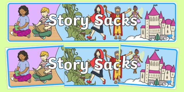 Story Sacks Display Banner - story sacks, display banner, display, banner, Story Sack