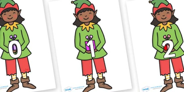 Numbers 0-31 on Elves - 0-31, foundation stage numeracy, Number recognition, Number flashcards, counting, number frieze, Display numbers, number posters