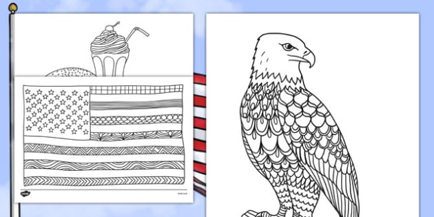 USA Mindfulness Coloring Sheets - usa, america, mindfulness, colouring, colour, activity