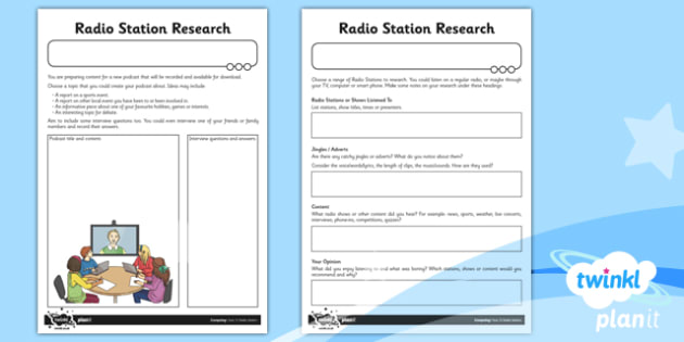 Computing: Radio Station Year 5 Unit Home Learning Tasks