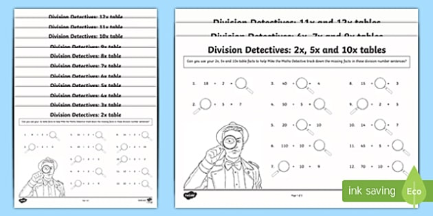 Division Facts Missing Numbers Activity Sheet, worksheet