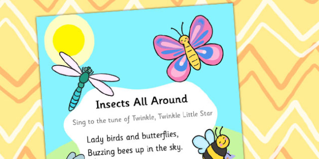 Insects All Around Display Poster - display poster, display, posters, minibeast display poster, insects display poster, insects poem display poster, minibeasts poem display poster, minibeasts poem poster, A4 posters, poster, classroom display posters