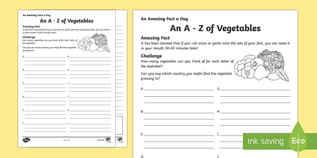 An A-Z of Vegetables Activity Sheet