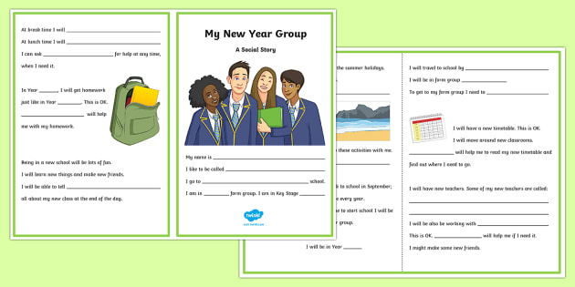 My New Year Group Social Situation - social stories, social story, transition, independence, change, ks2, ks3, primary, secondary, new school, new starters, progression