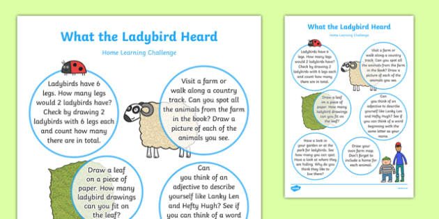What the Ladybird Heard Home Learning Challenge Sheet Reception FS2