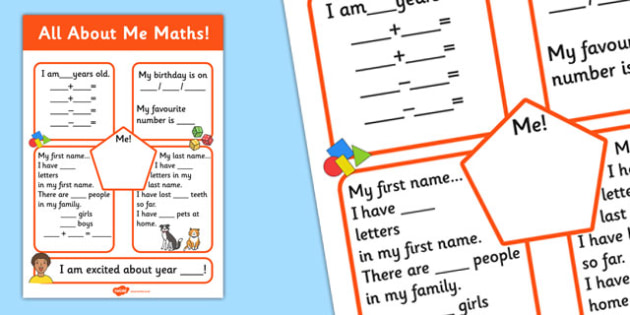 All About Me Maths Display Poster Worksheet - all about me, all about me maths sheet, ourselves, all about me maths, maths worksheet