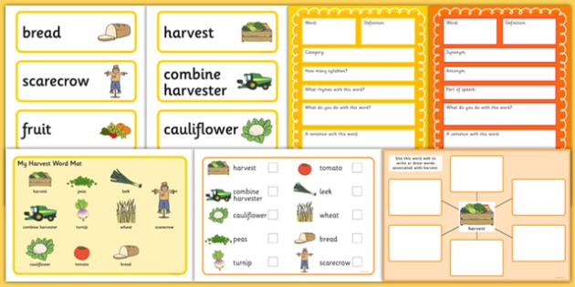 Harvest Pre-Teaching Vocabulary Pack - harvest, pre-teaching, vocabular pack