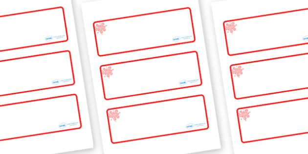 Red Themed Editable Drawer-Peg-Name Labels (Blank) - Themed Classroom Label Templates, Resource Labels, Name Labels, Editable Labels, Drawer Labels, Coat Peg Labels, Peg Label, KS1 Labels, Foundation Labels, Foundation Stage Labels, Teaching Labels