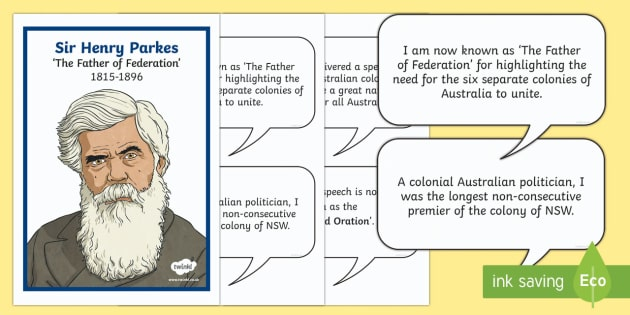 Henry Parkes 'The Father of Federation' Display Facts Posters-Australia - Australia's System of Law & Government, father of federation, Australian federation, federation, He