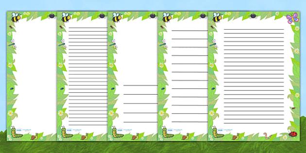 Mini Beast Page Borders - writing templates, writing border