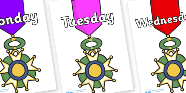 Days of the Week on War Medals - Days of the Week, Weeks poster, week, display, poster, frieze, Days, Day, Monday, Tuesday, Wednesday, Thursday, Friday, Saturday, Sunday