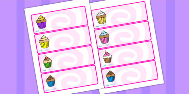 Cupcake Themed Drawer Peg Name Labels - name tags, signs, food