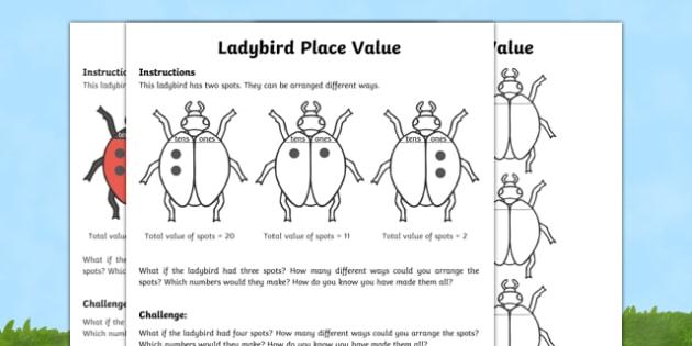 Ladybird Place Value Activity Sheet Pack, worksheet