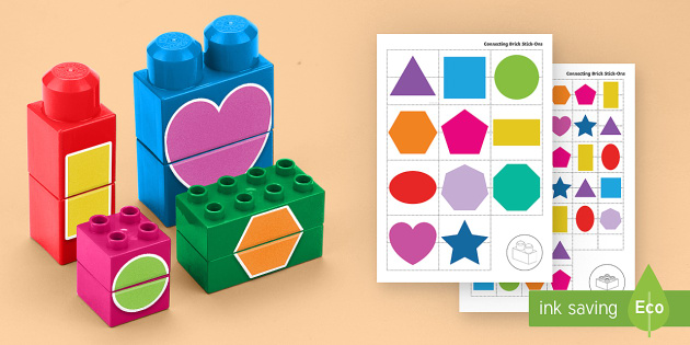 2D Shapes Matching Connecting Bricks Game - EYFS, Early Years, KS1, Connecting Bricks Resources, duplo, lego, plastic bricks, building bricks, M