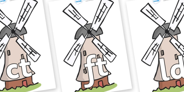 Final Letter Blends on Windmills - Final Letters, final letter, letter blend, letter blends, consonant, consonants, digraph, trigraph, literacy, alphabet, letters, foundation stage literacy