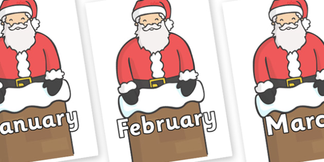 Months of the Year on Santa (Chimney) - Months of the Year, Months poster, Months display, display, poster, frieze, Months, month, January, February, March, April, May, June, July, August, September