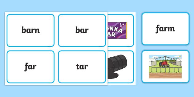 Ar Sound Matching Word Cards - ar sound, matching, word cards, word, cards, match