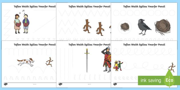Taflenni Gwaith Sgiliau Ymarfer Pensil i Gefnogi'r Dysgu am Brig ddyn Taflenni Llwybrau Sgiliau Pensil-Welsh - brig-ddyn, sgiliau, pensil, coed, goedwig, coedwig,Welsh