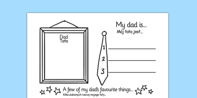 Father's Day About My Dad Writing Frame Polish Translation - polish, father's day, fathers day, fathers day writing frame, about my dad, about my dad writing frame, my dad