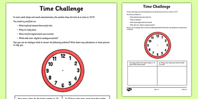 Time Challenge Activity Sheet - time, seconds, minutes,, hours, challenge, maths, worksheet