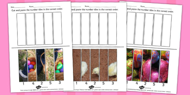 Easter Themed Photo Number Sequencing Puzzles - easter, photo