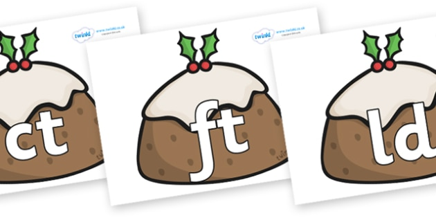 Final Letter Blends on Christmas Puddings - Final Letters, final letter, letter blend, letter blends, consonant, consonants, digraph, trigraph, literacy, alphabet, letters, foundation stage literacy
