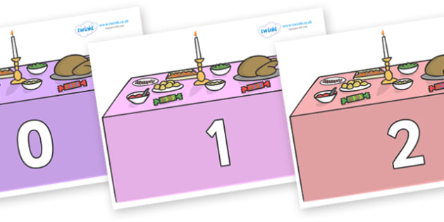 Numbers 0-31 on Christmas Dinner (Tables) - 0-31, foundation stage numeracy, Number recognition, Number flashcards, counting, number frieze, Display numbers, number posters