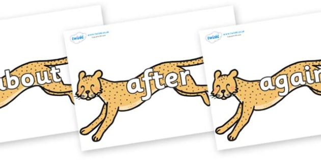 KS1 Keywords on Cheetahs - KS1, CLL, Communication language and literacy, Display, Key words, high frequency words, foundation stage literacy, DfES Letters and Sounds, Letters and Sounds, spelling