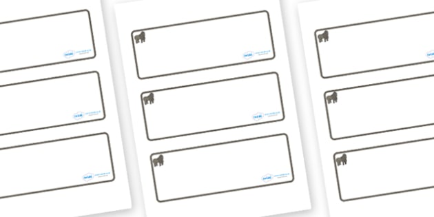Gorilla Themed Editable Drawer-Peg-Name Labels (Blank) - Themed Classroom Label Templates, Resource Labels, Name Labels, Editable Labels, Drawer Labels, Coat Peg Labels, Peg Label, KS1 Labels, Foundation Labels, Foundation Stage Labels, Teaching Labe