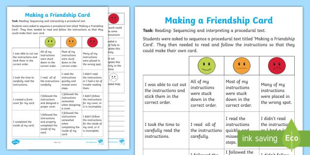 Making a Friendship Card Assessment Tracker - friendshipproceduresortingfriendship card,Australia