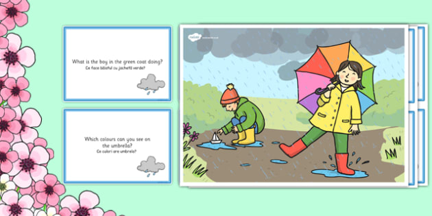 Spring Showers Scene and Question Cards Romanian Translation - romanian, spring, spring showers, questions, comprehension pack