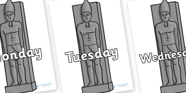 Days of the Week on Egyptian Statues - Days of the Week, Weeks poster, week, display, poster, frieze, Days, Day, Monday, Tuesday, Wednesday, Thursday, Friday, Saturday, Sunday