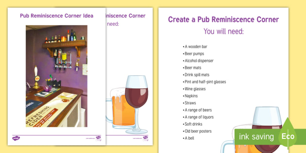 Pub Reminiscence Corner Resource Pack - Wall Displays, Create, Reminiscence, Ideas, Elderly Care, Dementia, Care Homes, Support, Activity Co