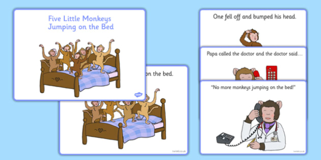 Five Little Monkeys Jumping on the Bed Sequencing - EYFS planning, Early years, nursery rhymes, number rhymes, counting songs