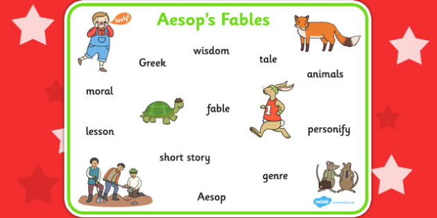 Aesop's Fables Word Mat - Aesop's fables, visual aid, keywords