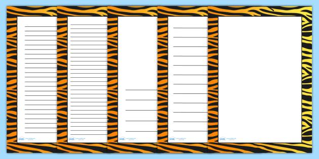 Tiger Pattern Portrait Page Border - safari, safari page borders, tiger page borders, tiger pattern page borders, safari animal pattern page borders
