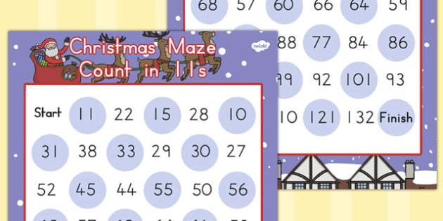 Christmas Maze Counting in 11s - australia, christmas, maze, math