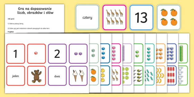Gra na dopasowanie liczb obrazków słów