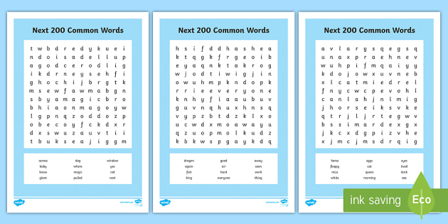 next 200 common words Word Search - High Frequency Words Wordsearch - high frequency, words, wordsearch,high frequecy words,high frquenc