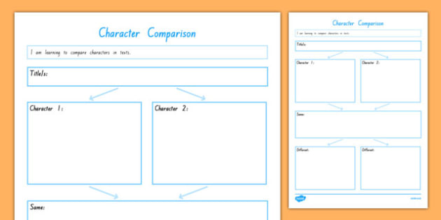 Character Comparison Web Activity Sheet, worksheet