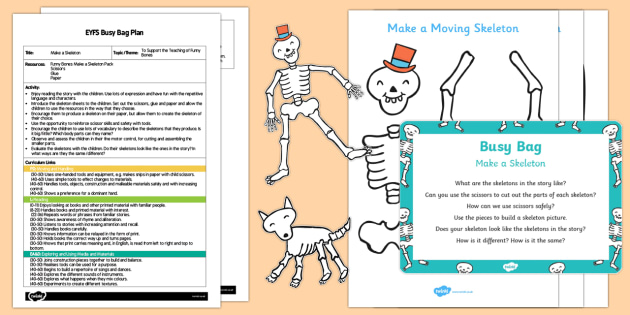 EYFS Make a Skeleton Busy Bag Plan and Resource Pack