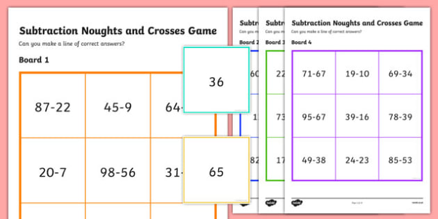 Subtraction Noughts and Crosses Game Within 100 - subtraction, noughts and crosses, game, activity, within 100