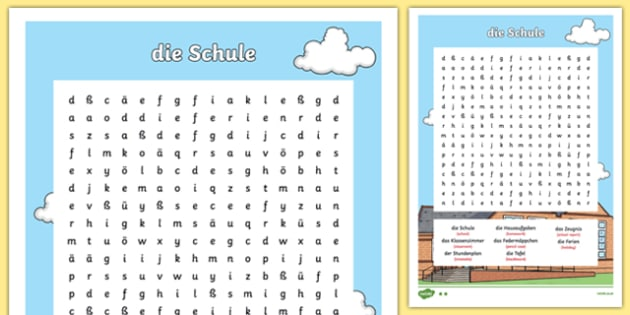 German School Vocabulary Word Search