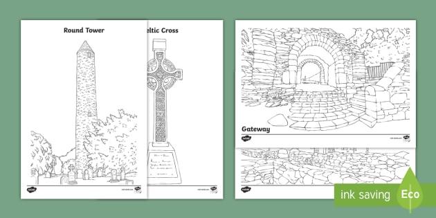 Glendalough Colouring Pages - Ireland, The Land of Saints and Scholars,early christian Ireland,Irish saints, monastic Ireland, Gle
